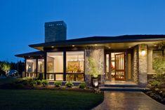 Moderne Bungalow-Arten Veranda-Überdacht Glasscheiben durchgängig Kaufman-Homes-Inc