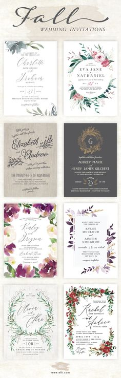 Find the perfect fall wedding invitation at Elli.com. Tons of gorgeous autumn designs to choose from with free customization.