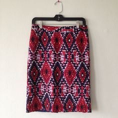 Van Heusen Patterned Pencil Skirt Only worn a few times, so very good condition | Fun pattern - I always receive compliments when I wear it | Very flattering fit | Red silky inside lining, hidden zipper in middle back, bottom slit in back | 21.5 inches Van Heusen Skirts Pencil