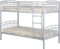 The Venture Bunk Bed Children's metal 3ft bunk bed. Solid and secure and safe for children. Only comes in Silver with wooden steps. Mattresses are not included in the price, these must be ordered separately.