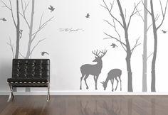 deer forest wall sticker deer forest wall by DOMOREwallstickers
