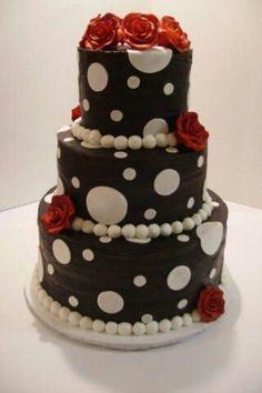 Black white red polka dots