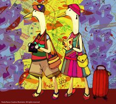 Typical Tourists around the world. Illustration by Paola Rassu Travel Around The World, Around The Worlds, Illustration, Painting, Beautiful, Blog, Illustrations, Painting Art, Paintings