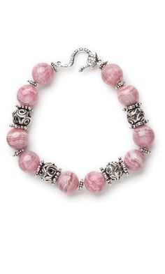 Bracelet with Rhodochrosite Gemstone Beads and Sterling Silver Beads
