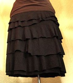 Ruffle skirt made from old T-shirts.