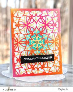 Congratulations card using Layered Medallion Cover Die A and B. www.altenew.com