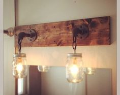 Rustic/ Industrial/ Modern Wood Handmade 3 Mason Jars by Lulight