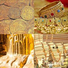 GOLD die Farbe des Prachtvollen Bangles, Bracelets, Gold, Jewelry, Color Of Life, Inspiring Art, Rhinestones, Products, Colors