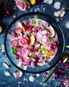 Pink + Flowery Smoothie Bowl ~ The Sunkissed Kitchen