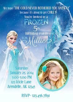 FROZEN Birthday Party Invitation ELSA 5x7 by CelebrationSmiles