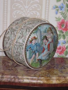 RARE Antique Miniature French Lithograph Candy Container Doll Hatbox from doriansroom on Ruby Lane
