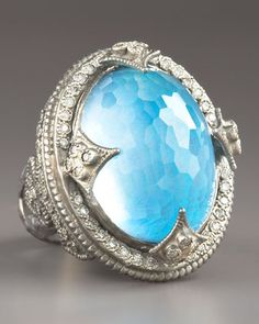 Armenta Opal and Blue Topaz 26.30 total carat weight Dome & Diamond Ring - Neiman Marcus