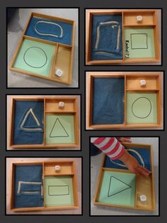 "Shapes in the Montessori Tray – from Rachel ("",) Related Post Growing Play: Kitchen Puzzle, so easy to do with w. DIY Sensory play game board for baby and toddlers Montessori Play at 13 Months Pattern Matching Game with Clothespins – Mon. Montessori Preschool, Montessori Trays, Montessori Education, Montessori Materials, Preschool Classroom, Preschool Learning, Preschool Activities, Teaching Kindergarten, Preschool Quotes"