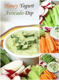 """This Honey Yogurt Avocado Dip is a great starting to any and every party. It's vastly becoming our favorite snack for family game night with the grandchildren or movie """"date night"""" Easy Snacks, Healthy Snacks, Healthy Eating, Healthy Recipes, Healthy Sides, Healthy Options, Delicious Recipes, Easy Meals, Yummy Appetizers"""