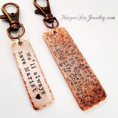 Harper Lee Jewelrys BEST selling rustic copper latitude/longitude hand stamped key chains are now available in a variety of sizes and textures!