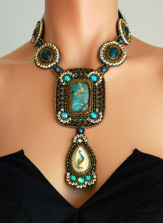 Egyptian Scarab Necklace, Green Beaded Necklace, Glass Bead Embroidered.