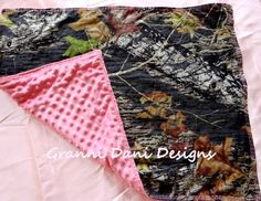 MOSSY OAK camo camouflage baby girl pink stroller car seat blanket lovie nursery on Etsy, $24.00