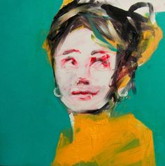 """""""Turquoise Portrait,"""" yellow andbturquoise porrait by artist Oscar Nin available at Saatchi Art: http://www.saatchiart.com/art-collection/Painting-Photography-Sculpture/New-This-Week-4-27-2015/153961/102058/view #portrait"""
