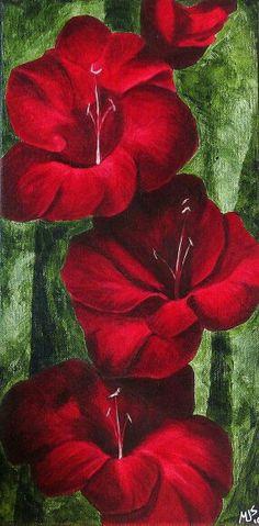 Red Gladiolus Painting