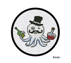 Cross Stitch Pattern Drunk Octopus Instant Download by TinyNeedle, $4.00