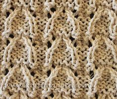 Vaulted Arched Lace Knitting Stitch Free knitting pattern - other free stitch patterns at this site Rib Stitch Knitting, Lace Knitting Stitches, Crochet Stitches Patterns, Sweater Knitting Patterns, Arm Knitting, Lace Patterns, Stitch Patterns, Knitting Blankets, How To Purl Knit