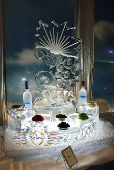 Silver Lining Caviar Station Ice Sculpture with vodka Caviar, Snow And Ice, Fire And Ice, Snow Sculptures, Metal Sculptures, Bronze Sculpture, Wood Sculpture, Don Perignon, Ice Sculpture Wedding