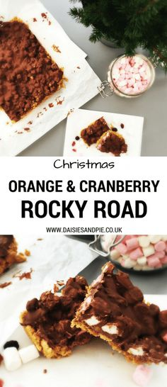 Delicious festive rocky road recipe - our orange and cranberry rocky roads are perfect for making as DIY Christmas gifts or serving at Christmas parties Best Dessert Recipes, Fun Desserts, Delicious Desserts, Healthy Recipes, Cake Recipes, Easy Rocky Road Recipe, Christmas Party Food, Diy Christmas, Thanksgiving Recipes
