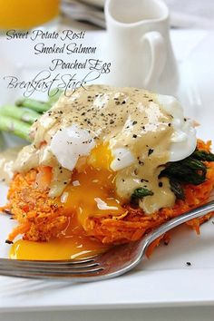 Poached Egg Smoked Salmon Sweet Potato Rosti! #paleo #brunch #dreamfood