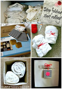 Our Fifth House: Rolling Sheets - Organized Linens