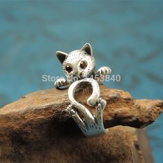 Vintage Silver Crystals Adjustable Free Size Animal Retro Cute Kitty Cat Wrap Ring For Girls