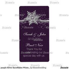 purple Silver Snowflakes Winter Wine label