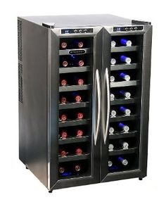 Whynter WC-321DD 32 Bottle Dual Temperature Zone Wine Cooler, Stainless Steel Trimmed Glass Door with Black Cabinet --- http://www.amazon.com/Whynter-WC-321DD-Temperature-Stainless-Trimmed/dp/B002YMW5J6/?tag=shiningmoonpr-20
