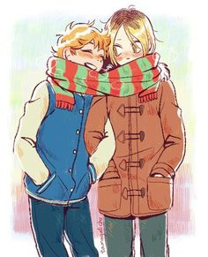 Hinata x Kenma and one scarf - Haikyuu!!