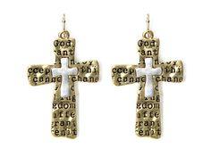 Two Tone Serenity Prayer Earrings