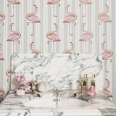 Dream wallpaper bathroom scenario - hello, flamingos.