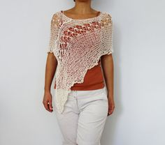 Knitting Pattern  Laced Shoulders Poncho/ by CamexiaDesigns
