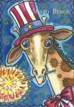 Art 'INDEPENDENCE DAY GIRAFFE' - by Susan Brack from GIRAFFE