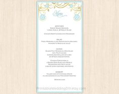 Wedding Menu Templates Free  Love Happily Everafter