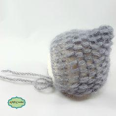 Crochet Newborn Lace Puff Pixie Bonnet Hat Pattern by AMKCrochet.com