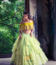 How pretty is this dramatic tulle lemon green lehenga by Anushree Reddy Lehenga Choli Designs, Bridal Lehenga Choli, Net Lehenga, Lehenga Top, Kids Lehenga, Indian Wedding Outfits, Bridal Outfits, Indian Outfits, Girly Outfits