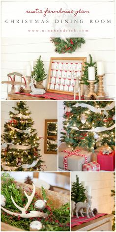 Holiday Housewalk 2015 | Rustic Farmhouse Glam Christmas Dining Room | Gather inspiration from the Holiday Housewalk 2015 with a modern farmhouse decorated for Christmas using rustic and classic decor.