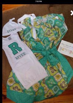 A personal favorite from my Etsy shop https://www.etsy.com/listing/189743213/matching-maternity-hospital-gowns-for