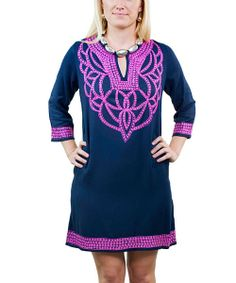 Take a look at the Navy & Fuchsia Cortina Tunic Dress on #zulily today!