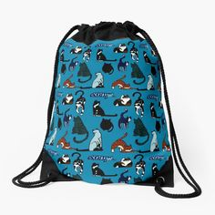 """""""Cat Lovers Teal Pattern"""" Drawstring Bag by HavenDesign   Redbubble Backpack Bags, Tote Bag, Buy A Cat, Drawstring Bags, Woven Fabric, Color Patterns, Cat Lovers, Teal"""