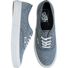 Similar to Vans classic shoe with a slimmer silhouette. Allover dotted print. Lace up. Canvas upper. Vulcanized rubber outsole. Waffle rubber detail. Lightly p…
