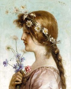 A Spring Maiden:  Virgilio TOJETTI  1849 - 1901  Virgilio Tojetti was born in Rome, Italy on March 15, 1849, the son of Domenico Tojetti. Virgilio was a pupil of his father and later studied in Paris with Gérôme and Bouguereau. He was a resident of San Francisco from 1871 until about 1883 when he moved to New York City.