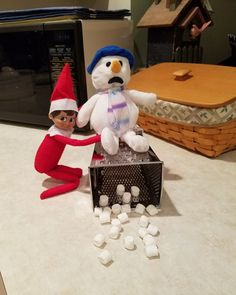 Elf on the Shelf To Funny : )) Snowman, cheese grader, marshmallows