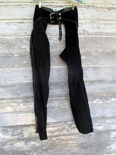 Vintage riding chaps Sz 32 Leather Expressions Made IN USA Fringe Black Suede by Holliezhobbiez on Etsy