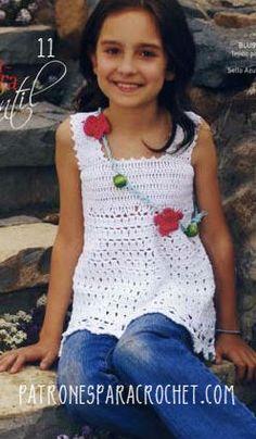 Blusa sin mangas para niñas al crochet