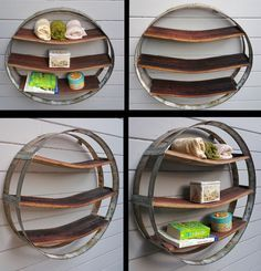 Made from Wine Barrel Rings & Staves Unique, One of a Kind Shelf